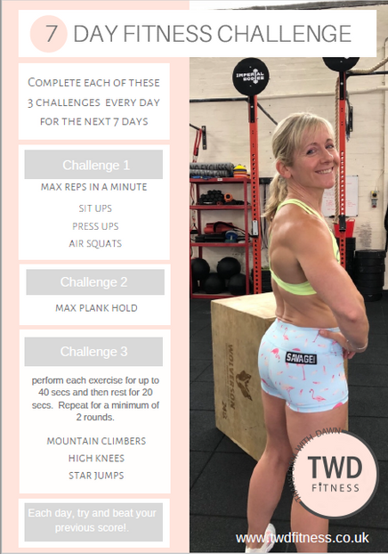 7 day fitness challenge poster showing exercises