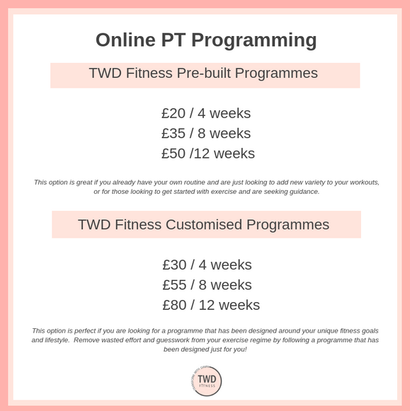 online personal training price list for daventry trainer twd fitness