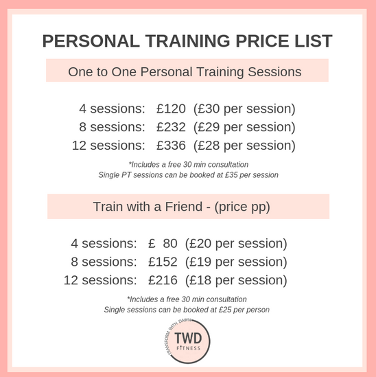 personal training price list for twd fitness in daventry one to one or with a friend