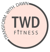 personal trainer logo - transform with dawn